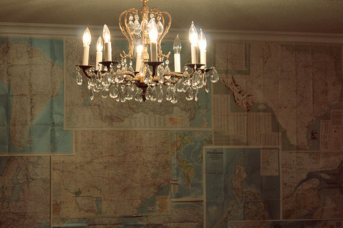 chandelier, indie, lights, map, photography