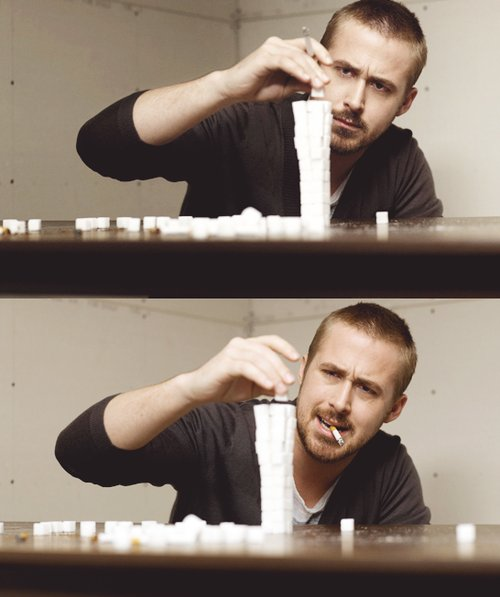 cigarette, ryan gosling, smoking