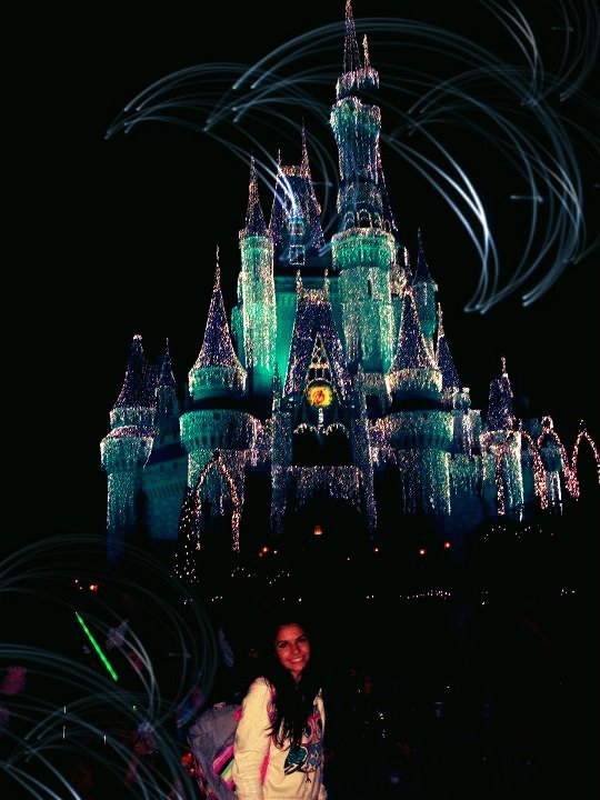 cinderella castle, disney world, girl, lights