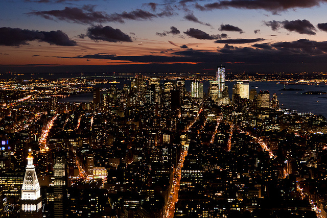 city, lights, manhattan, new york