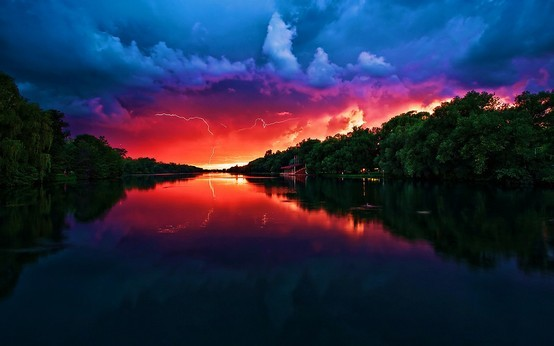 clouds, colorful, colors, forest, lake, landscape, lightning, photo, photograph, river, scenery, silhouette, sky, storm, sunset, trees, weather