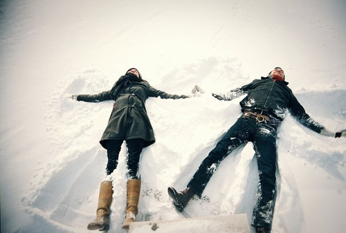 cold, couple, snow, snow angels