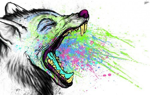 color, drawing, teeth, wolf