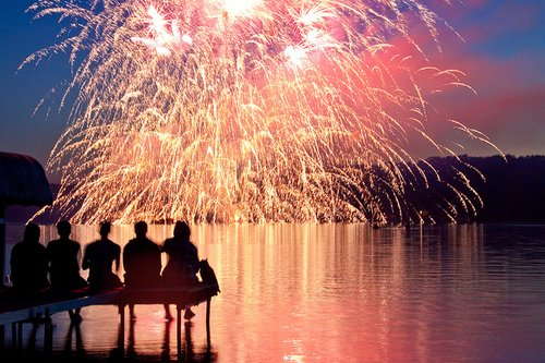 color, fireworks, lights, people, sea