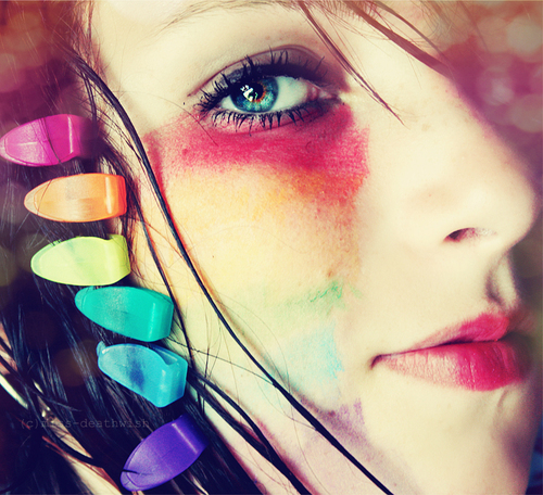 colorful, colors, face, girl, makeup, pretty, rainbow