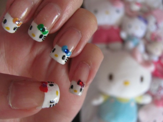 colorful, crystals, cute, hello kitty, lacquer