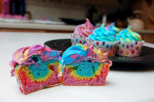 colorful, cupcakes, cute, polka dots