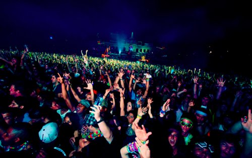 colors, concert, lights, night, people, rave