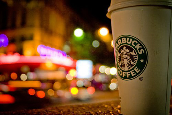 colors, lights, night, paris, starbucks
