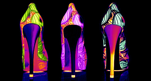 colours, cool, fashion, heels, hiippie, neon, neon lights, party, pretty, shoes, style, trippy