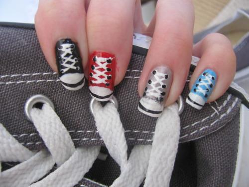 converse, cute, nailpolish, nails, nice