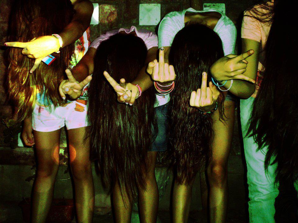 cool, girls , hair, love, peace