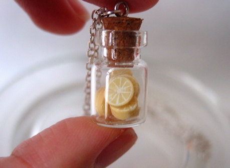 cork, cute, glass, jar, jewlery, lemons, mini, tiny, yellow