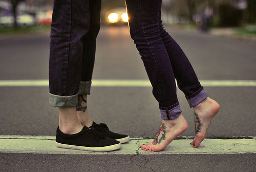 couple, cute, look, shoes, tattoo