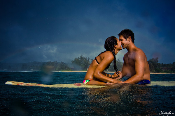 couple, cute, love, ocean, surfing