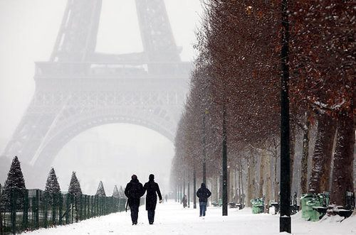 couple, eiffel tower, love, paris, winter