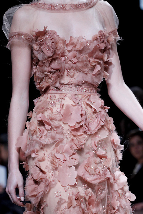 couture, elie saab, fashion, floral, girly, model, pink, runway