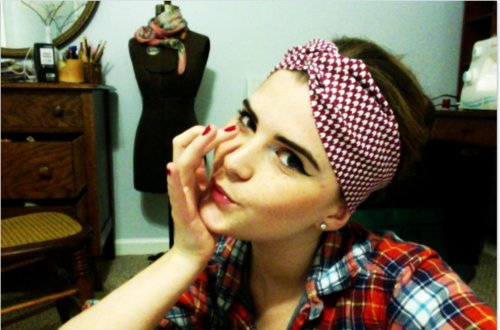 crafts, diy inspiration, dress form, fashion, girl, headband, nails, print, red, room, sewing, turban, vintage