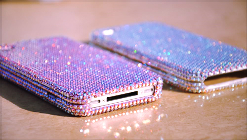 crystals, glitter, iphone, mobile, phone