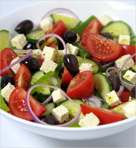 cucumber, feta, food, greek salad, olive oil, olives, onion, origano, tomato, zayn