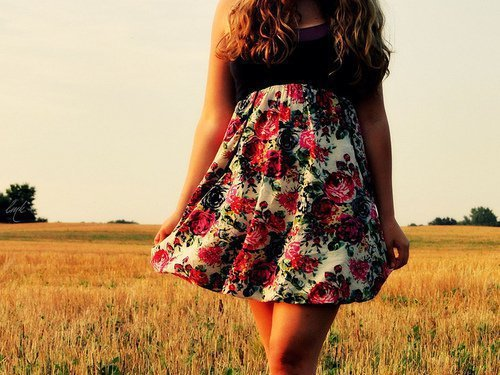 cute, dress, flowers, girl