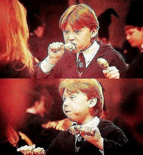 cute, eat, food, harry potter, ron