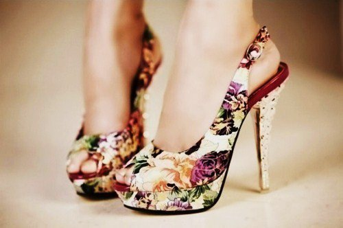 cute, fashion, floral, flowers, heels