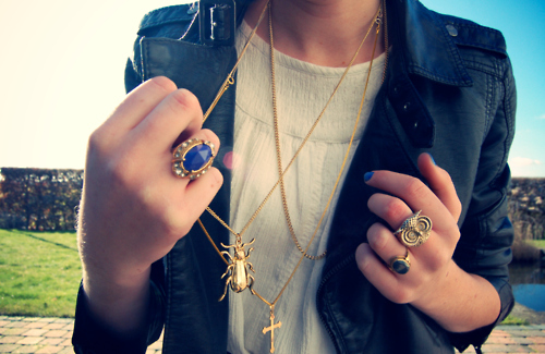cute, fashion, girl, jacket, jewelry, leather, lovely, necklace, photography, rings, shirt, sun