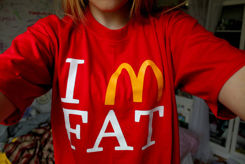 cute, fat, funny, girls, mcdonalds, red, t shirt