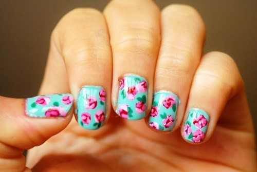 cute, flowers, girl, nail art, nail polish