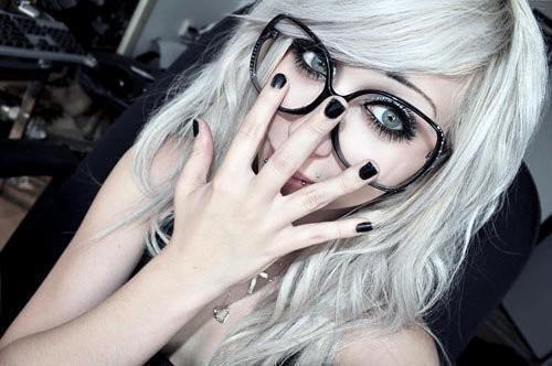 cute, girl, glasses, hair, nice