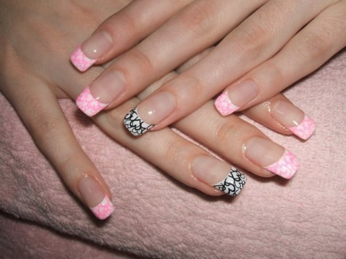cute, girly, nails, pink