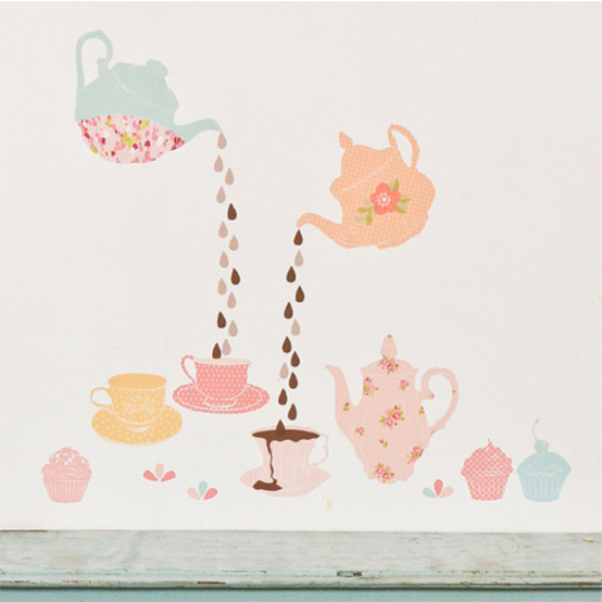cute, girly, pastel, stickers, tea cup, tea pot, wall