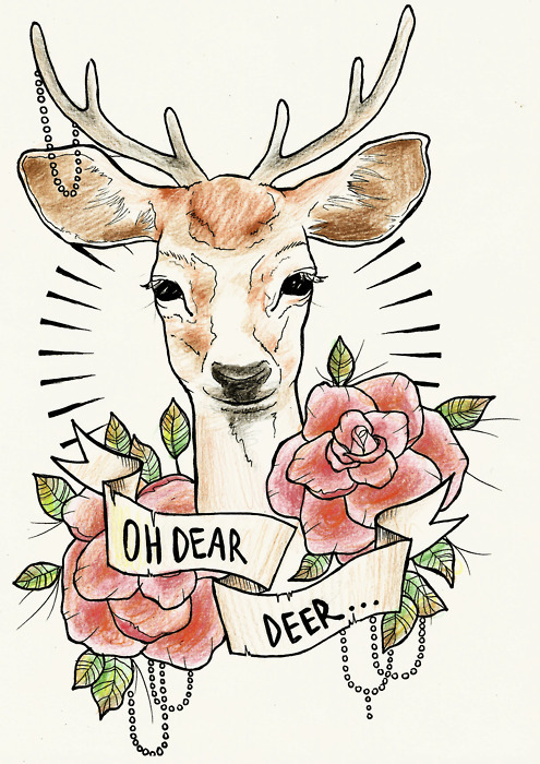 dear, deer, rose, tattoo