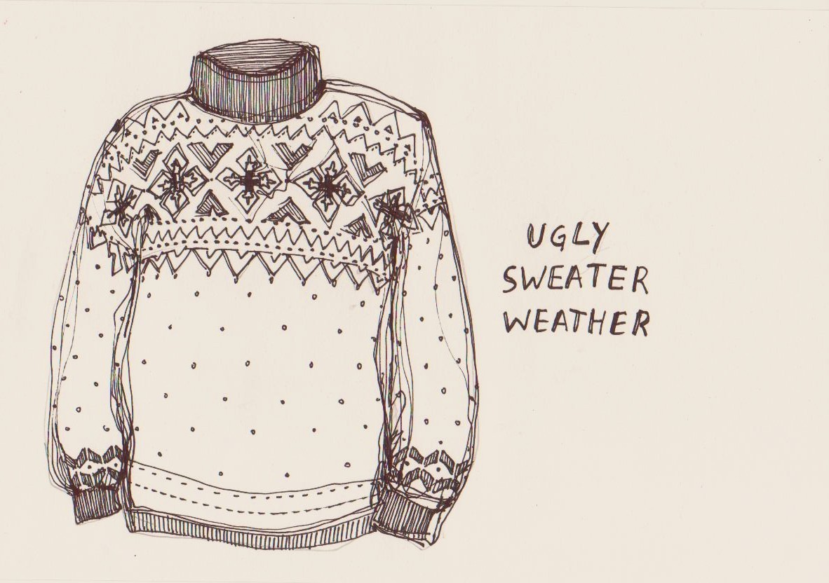 doodle, drawing, sweater, ugly sweater