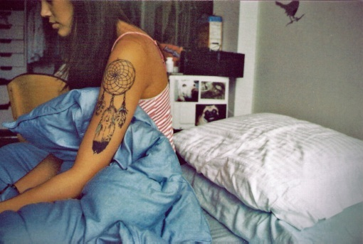 dream catcher, girl, tattoo