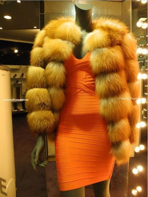 dress, fashion, fur, orange