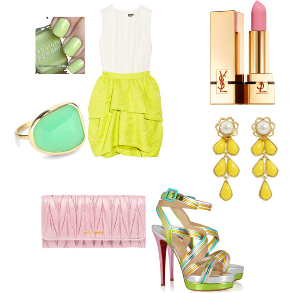 dress, fashion, girly, green, lipstick, outfits, pink, polyvore, ring, shoes, style, yellow