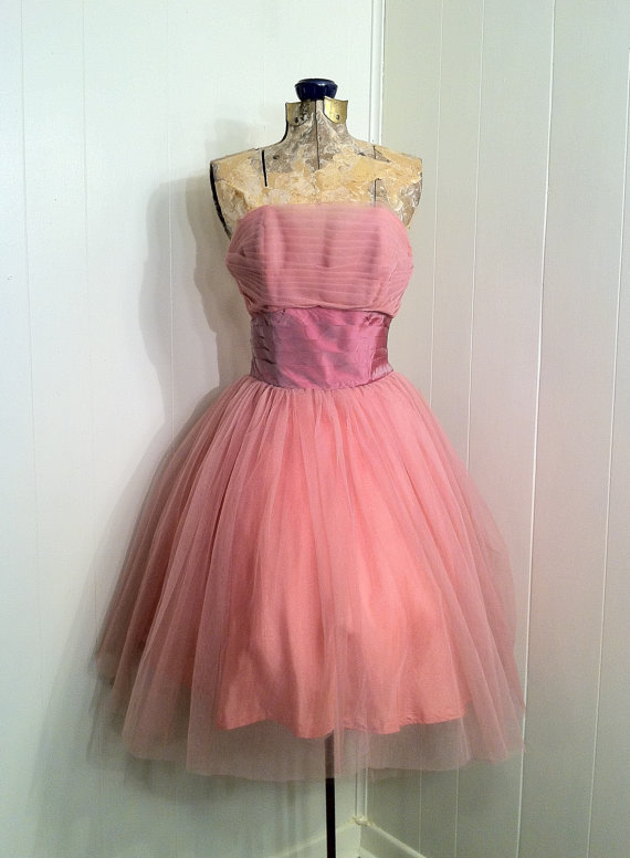 dress, pink dress, vintage