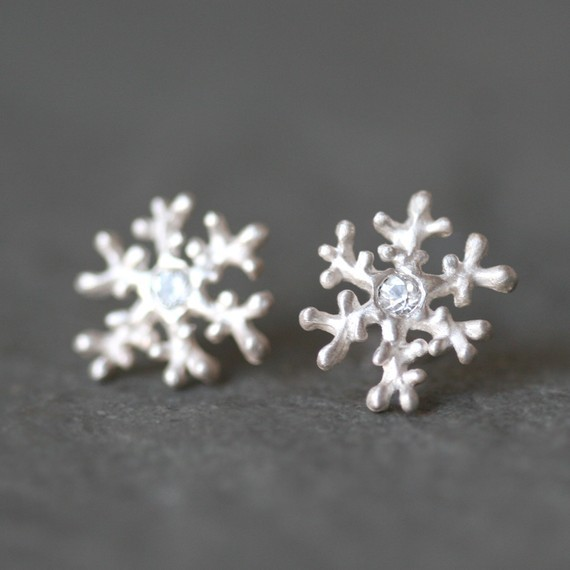 earrings, fashion, silver, snowflakes