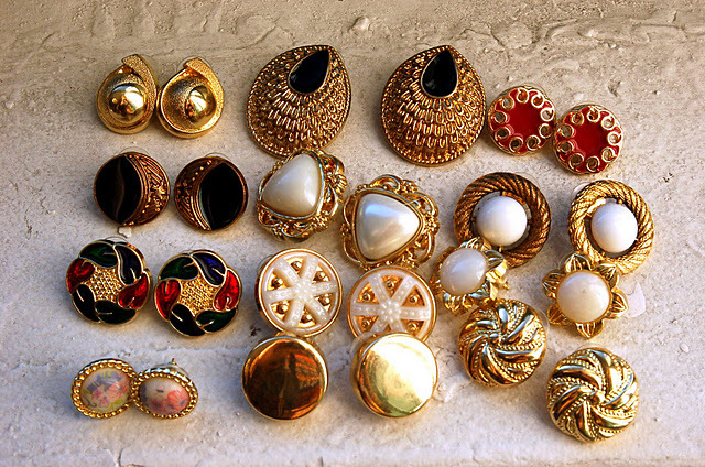 earrings, glam, glitter, gold, jewelry