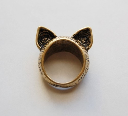 ears, jewelry, ring, wolf