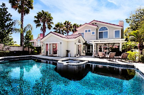 edited, house, luxury, mansion, palm trees