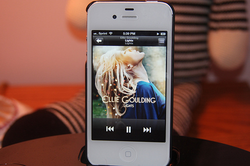 ellie goulding, iphone, lights, music, photography