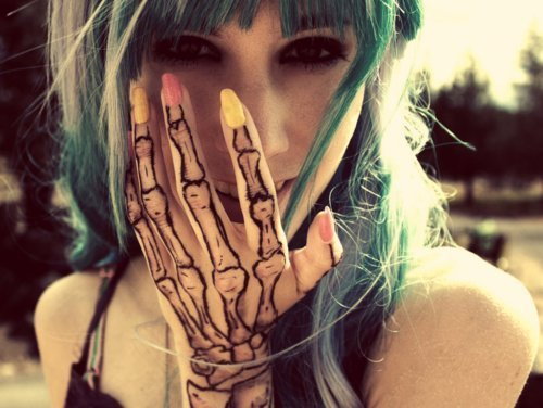 eyes, girl, hair, hand, nails, tatto, tattoo