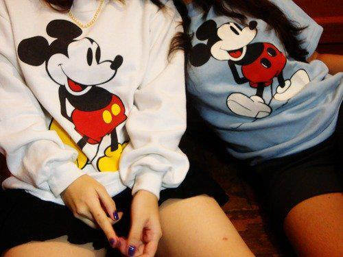 fashion, funny, girls, mickey mouse, style, sweater