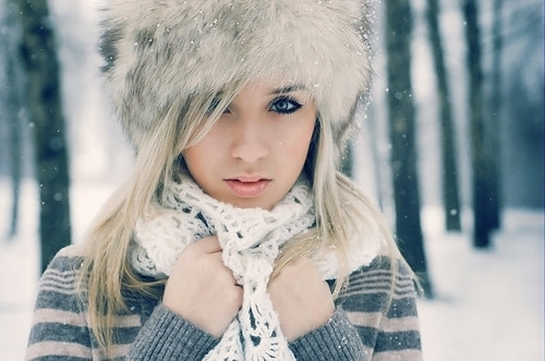 fashion, girl, hat, scarf, snow, style, winter