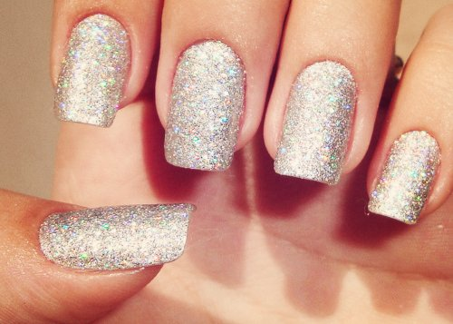 fashion, glitter, nails, silver