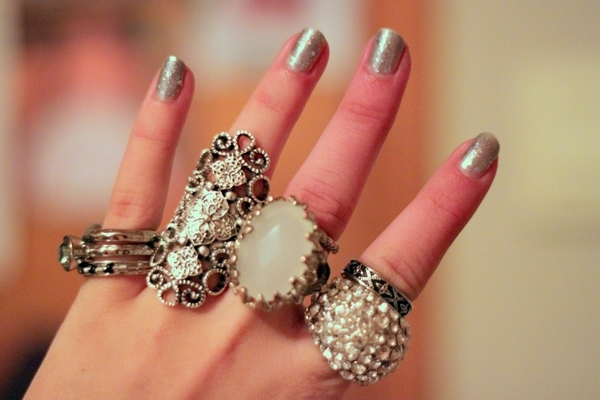 fashion, hand, rings, silver