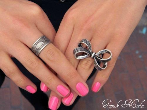 fashion, nail polish, nails, pink, ribbon, ring, rings